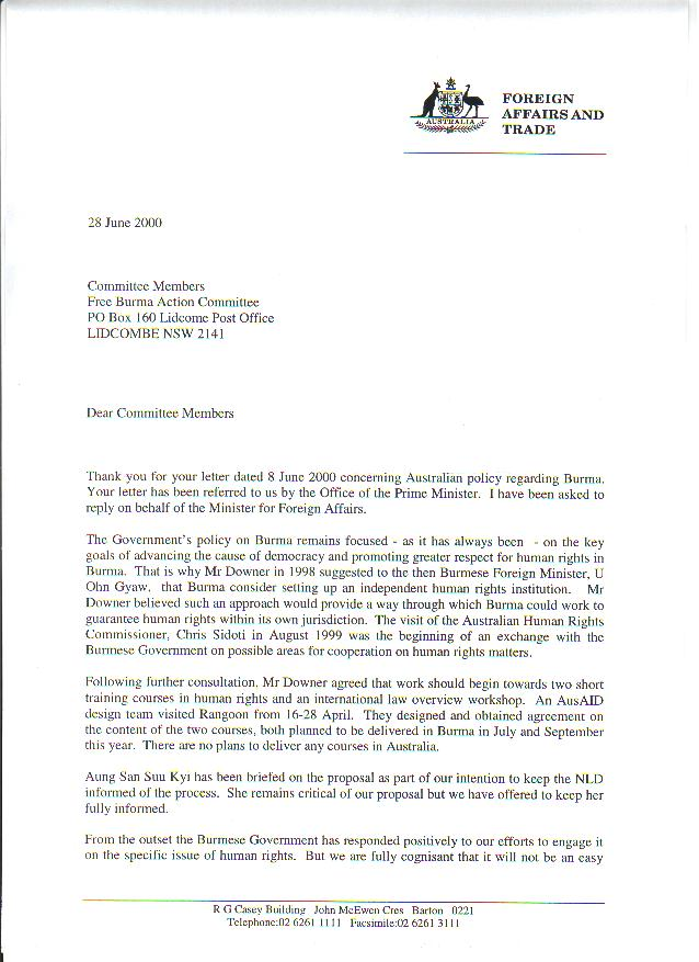 Response Letter From Australia Government